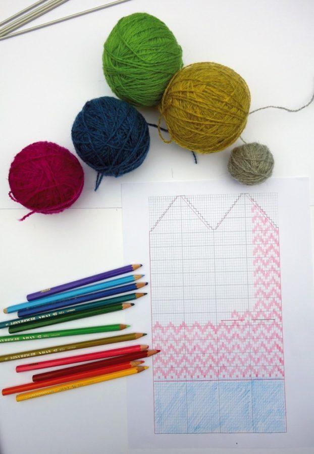 En mall med grundmönster på en vante underlättar för dig som vill att formge din egen vante. Ladda upp ett eller flera mönster! Och sticka din egen vante (eller flera!) och skicka in till #delavantar. (Foto Hemslöjden i Skåne)