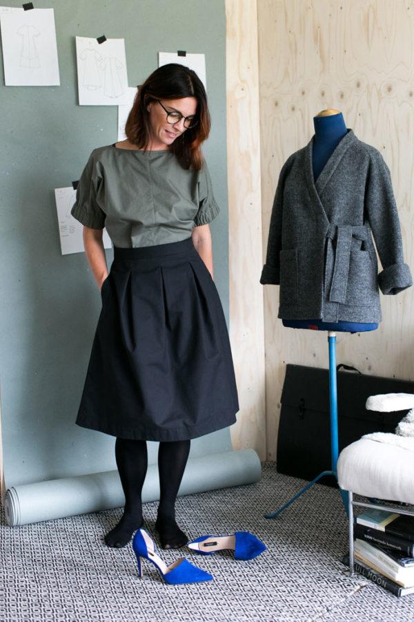 Kjolen heter Three pleat skirt och lanseras som mönster och med material att sy själv från nystartade The Assembly Line. (Foto The Assembly Line)