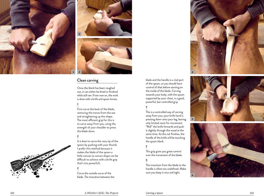 Uppslag ur boken The art of whittling, av Niklas Karlsson, där han till exempel ger beskrivning på sina skedar. (Foto ur boken)