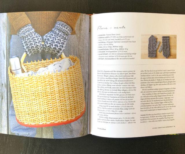 Vanten Flora, där Erika tagit upp den traditionella bladrankan med en extra detalj i muddens blomma. Här exempel på bokens upplägg i presentation av plagget, ur Sticka varmt och mönstrat. (Foto ur boken, Malin Nuhma)