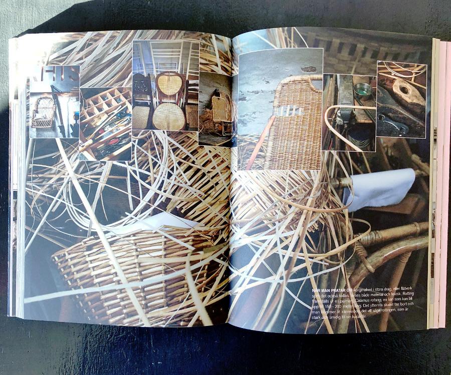 Det här är en bok för alla oss som är nyfikna på hur det ser ut när hantverk görs. Så här ser det exempelvis ut när Larsson Korgmakeri arbetar. (Foto Patric Johansson / avfotat av Kurbits)