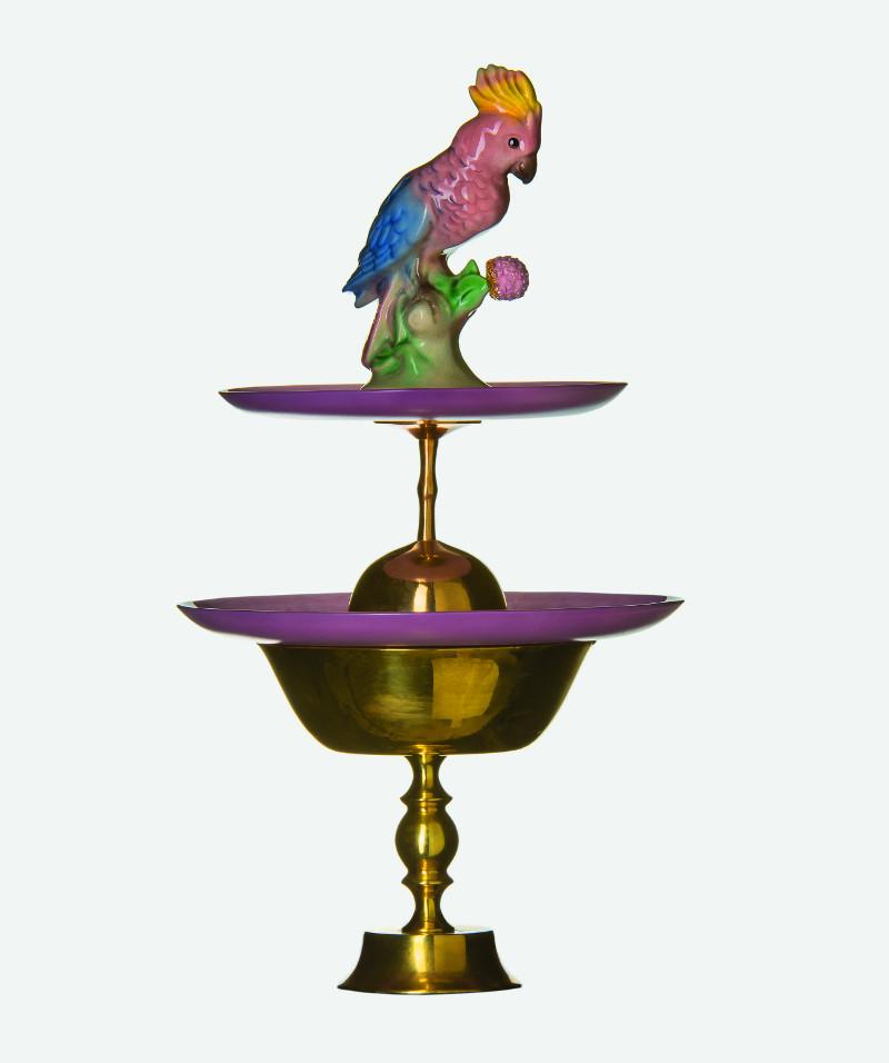 Polly the parrot - på Hallwylska museet just nu. Bordsdekoration av Charlotte Birnbaum, medlem i Gastronomiska sällskapet och expert på hur bordets dekorationer sett ut genom tiderna. (Foto Dawid)