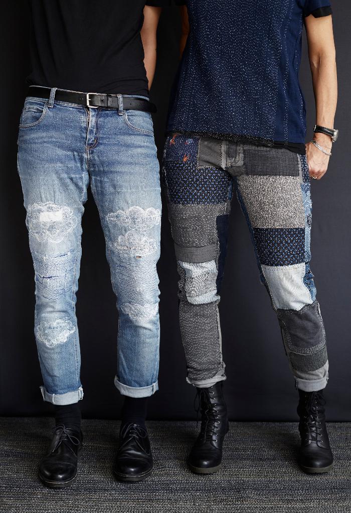 Finfint och ihärdigt lappade jeans, ur boken Lappa från Hemslöjdens förlag. Teknikhäftet är gjort av Katarina Brieditis och Katarina Evans. (Foto Karin Björkquist)