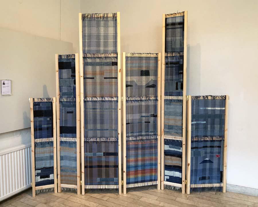 Magnus Norpan Eriksson, oerhört vackert sammansatt verk i tuskaft och tretrampsväv, med sashiko och boroteknik. En del av Craftverk också. (Foto Kurbits)
