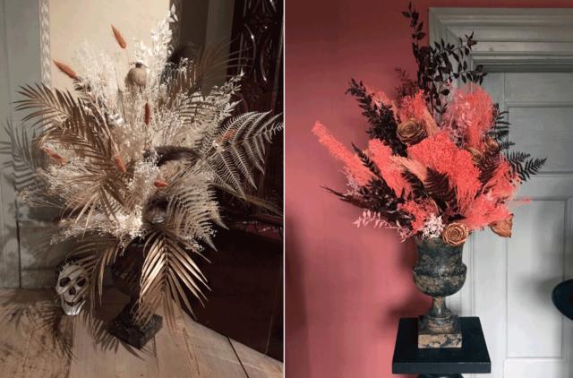 Objekt och blomster möts i en lekfull tolkning av barockens dramatik, punk, död och skönhet - passar utmärkt i tider av både Halloween och Allhelgona! Karin Ferner och Andreas Graveleij har samarbetat. (Foto Karin Ferner)