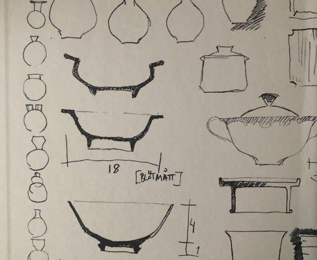 Bokens pärmar har skisser på fat, krukor och vaser, jag blev lite rörd över att lära mig vad ett blötmått är. Fint!