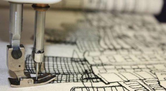 Amnon Lipkin tecknar med tråd